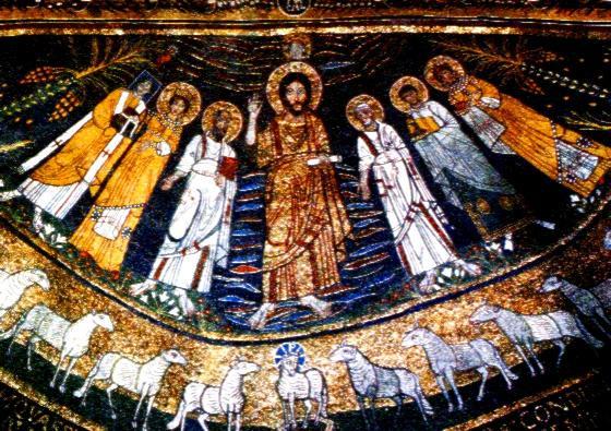 Pave Paschalis I og de hellige Cecilia, Paulus, Kristus, Peter, Valerian og Agatha (ca 821), apsismosaikk i kirken Santa Cecilia in Trastevere
